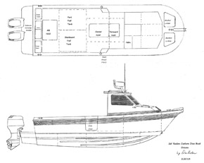 Radon Signature 26 Drawing -- shown with outboards