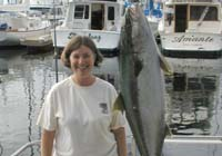 Cathy with big Yellowtail