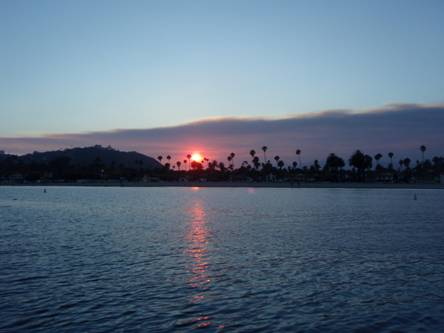 Zaca Fire sunset on launching day