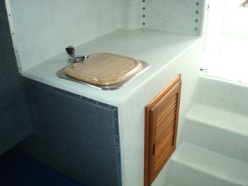 Galley with sink and storage