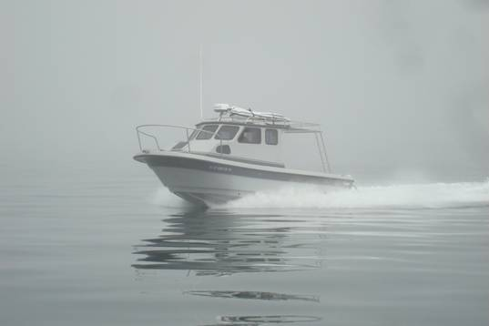 The McLeod's new 26' on a foggy day off the Channel Islands