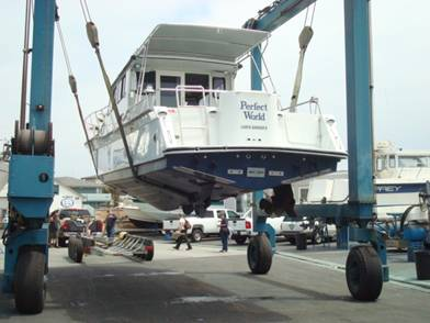 Damon from Harbor Marineworks prepares for the splash – you can see the Volvo IPS drives on the bottom of the hull